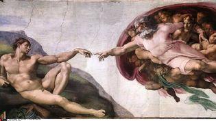 """La fresque """"La création d'Adam"""" de Michel-Ange, peinte au plafond de la chapelle Sixtine, à Rome. (CATERS NEWS AGENCY/SIPA)"""