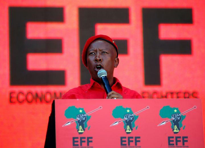 Le leader du mouvement d'opposition EFF, Julius Malema, s'adresse à ses partisans le 5 mai 2019 à Johannesburg. (PHILIMON BULAWAYO / X02381)