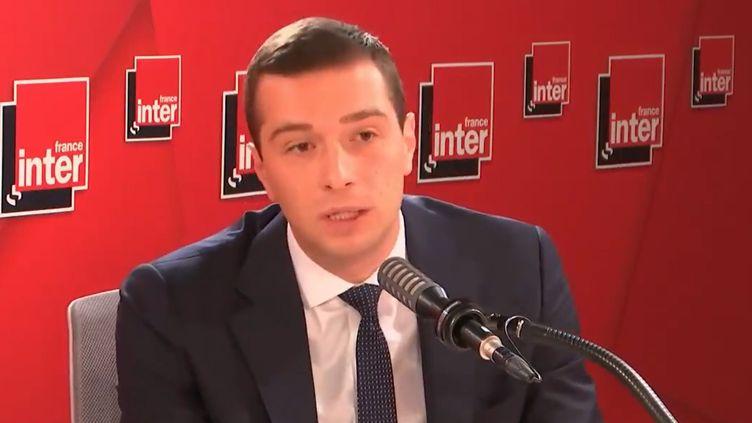 Jordan Bardella, président du Rassemblement national, mardi 28 septembre 2021 sur France Inter. (FRANCEINTER / RADIO FRANCE)