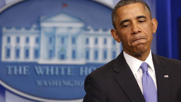 Le président des Etats-Unis, Barack Obama, lors d'une conférence de presse à la Maison Blanche, le 14 novembre 2013. (LARRY DOWNING / REUTERS)