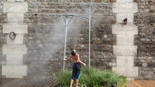 Un enfant se rafraîchità Paris,pendant l'été 2013. (MANUEL COHEN / AFP)