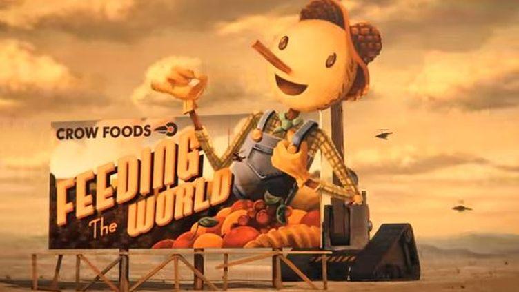 """Capture d'écran,l'épouvantail du film d'animation """"Scarecrow"""" pour la chaîne de restaurants Chipotle Mexican Grill. (CREATIVE ARTISTS / CHIPOTTE / YOUTUBE)"""