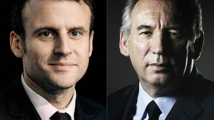 """Emmanuel Macron a accepté """"l'alliance"""" proposée par François Bayrou pour l'élection présidentielle, mercredi 22 février 2017. (JOEL SAGET / AFP)"""