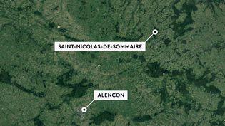 Deux adolescents de 13 et 15 ans ont perdu la vie dans un incendie à Saint-Nicolas-de-Sommaire (Orne) dimanche 1er décembre. Les pompiers sont toujours mobilisés sur place. (FRANCE 2)