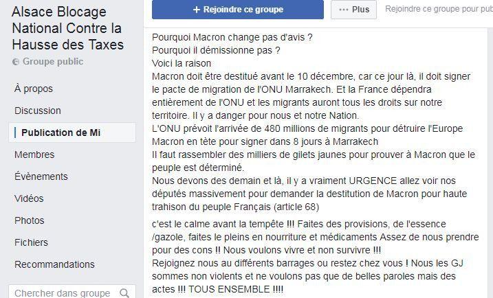 """Un message condamnant le pacte de l'ONU sur les migrations, publié sur l'une des pages Facebook de soutien au mouvement des """"gilets jaunes"""", le 3 décembre 2018. (FACEBOOK)"""
