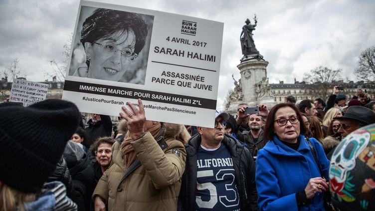 Une manifestation place de la République à Paris pour demander la tenue d'un procès pour meurtre dans l'affaire de la mort de Sarah Halimi, le 5 janvier 2020. (MAXPPP)