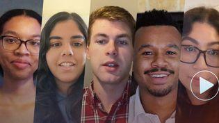 Alix, Matthew, Daphne, Meijade, Jacob, Stephanie et Detrick ont pris leur smartphone pour partager avec vous, face caméra, leurs craintes et leurs espoirs (FRANCEINFO)