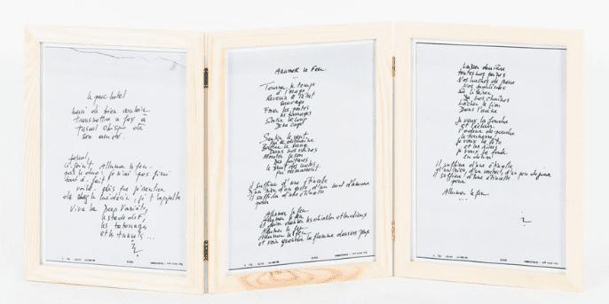 "Fac-similé de la version manuscrite de la chanson ""Allumez le feu"".  (Drouot Digital)"