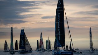Le départla dernière étape de la 51e édition de la Solitaire du Figaro, le 19 septembre 2020. (LOIC VENANCE / AFP)