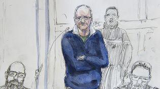 Francis Heaulme dessiné à son procès, le 25 avril 2017. (BENOIT PEYRUCQ / AFP)