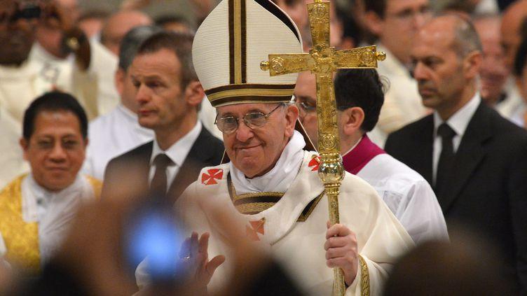 Le pape François, lors des cérémonies du Jeudi saint, le 28 mars 2013 à Rome (Italie). (VINCENZO PINTO / AFP)