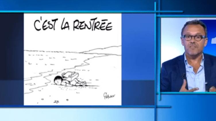 """""""Notre quotidien est futile...Il fallait rendre hommage à cet enfant"""", a précisé Chaunu, après son dessin consacré au drame des réfugiés. (FRANCE 3 BASSE-NORMANDIE)"""