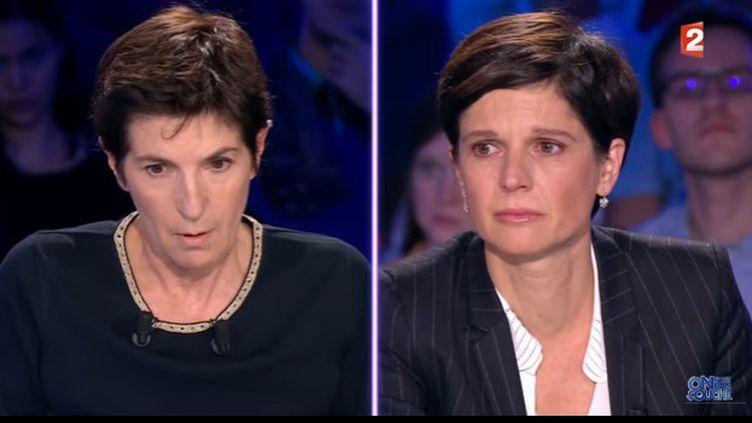 """Christine Angot et Sandrine Rousseau sur le plateau d'""""On n'est pas couché"""", France 2, 30 septembre 2017"""