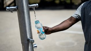Un homme remplit une bouteille d'eau, le 25 juin 2019 à Paris. (KENZO TRIBOUILLARD / AFP)