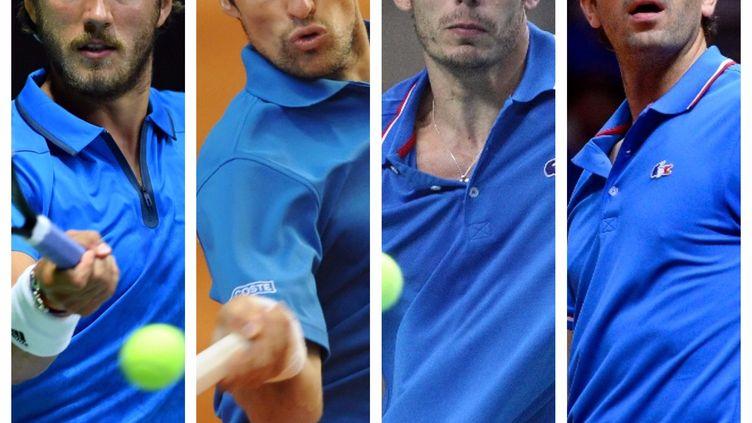Lucas Pouille, Jérémy Chardy, Nicolas Mahut et Julien Benneteau (de gauche à droite) se retrouvent sous le maillot Bleu pour affronter la Grande-Bretagne en quarts de finale de la Coupe Davis.