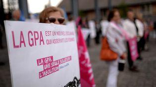 Des militants de la Manif pour tous protestent contre la gestation pour autrui (GPA), à Nantes, le 10 mai 2016. (JEAN-SEBASTIEN EVRARD / AFP)