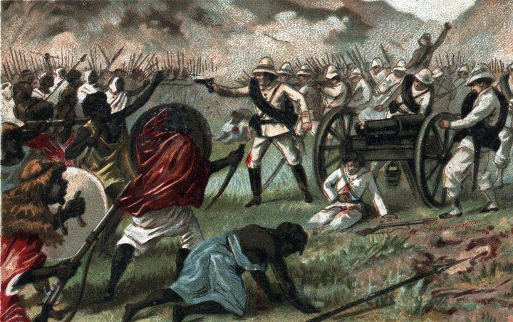 Bataille de Abba Karima (Adoua en Ethiopie) entre l'Ethiopie et l'Italie, 1896. Chromolithographie de la fin du 19e siècle.  (Bianchetti / Leemage / AFP)