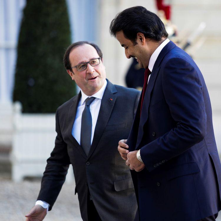 Le président François Hollande et l'émir du Qatar,Tamim ben Hamad Al-Thani, le 16 février 2016 à l'Elysée. (GEOFFROY VAN DER HASSELT / ANADOLU AGENCY / AFP)