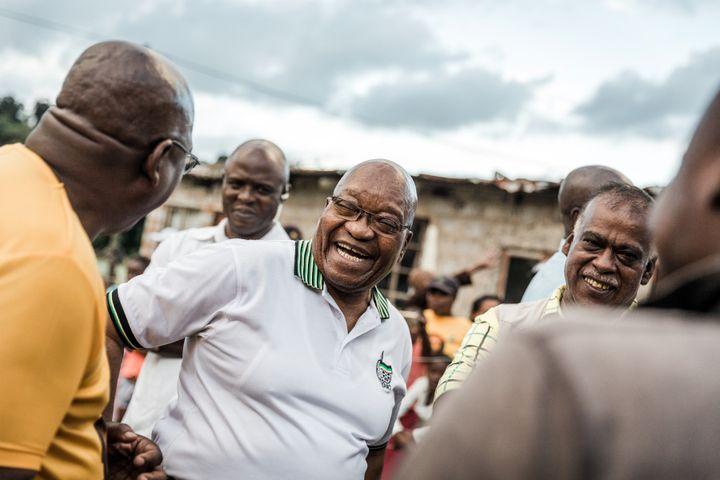L'ancien président sud-africain Jacob Zuma dans le township de Shakaskraal le 16 avril 2019. (RAJESH JANTILAL / AFP)