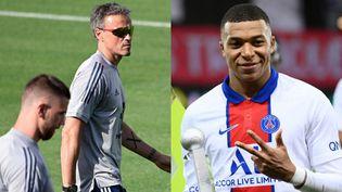 De gauche à droite : Unai Simon, l'entraîneur espagnolLuis Enriqueet Kylian Mbappé. (AFP)