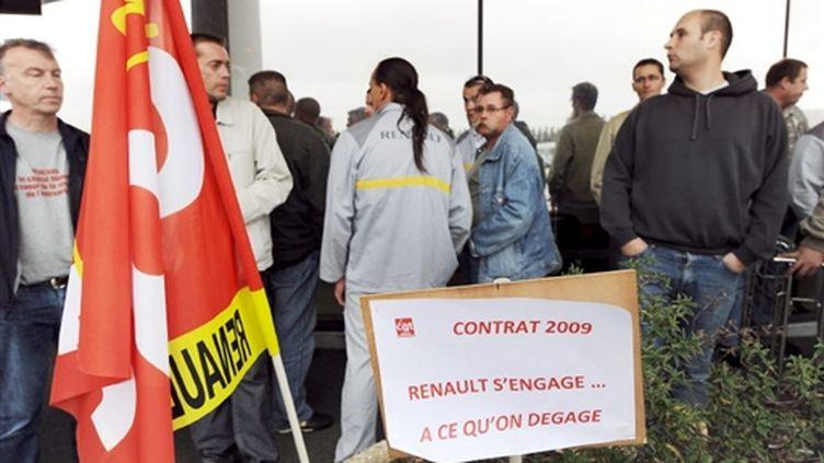 Mouvement social à Sandouville, en septembre 2008 (AFP/ROBERT FRANCOIS)