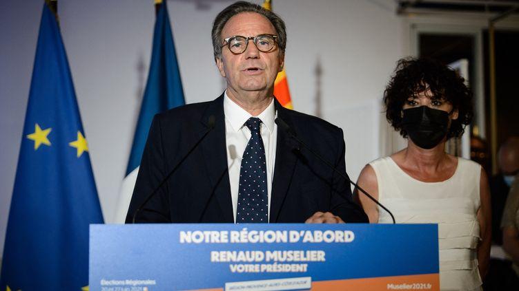 Renaud Museliers'exprime après lepremier tour des élections régionales en Provence-Alpes-Côte d'Azur, le 20 juin 2021, à Marseille. (CLEMENT MAHOUDEAU / AFP)