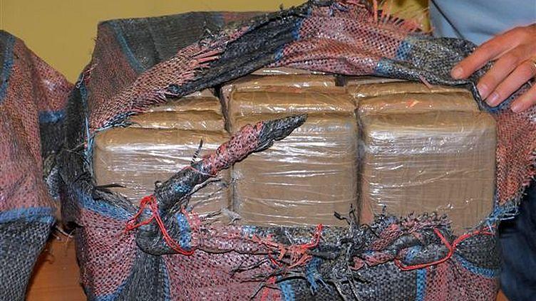 Les pains de cocaïne étaient placés dans des sacs, découverts dans un conteneur, au Havre (Seine-Maritime), a-t-on appris le 28 juin 2012. (DIRECTION GÉNÉRALE DES DOUANES)
