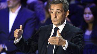 Nicolas Sarkozy, lors du débat de la primaire à droite, jeudi 3 novembre 2016, dans la salle Wagram à Paris. (ERIC FEFERBERG / AFP)
