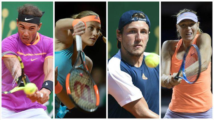 Rafael Nadal, Kristina Mladenovic, Lucas Pouille et Maria Sharapova (de gauche à droite) seront parmi les principaux acteurs du tournoi de Roland-Garros en 2017