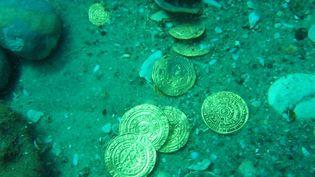 Quelques unes des 2000 pièces d'or retrouvées sous l'eau en Israël.  (Kobi Sharvit / Israel Antiquities Autorithy / AFP)