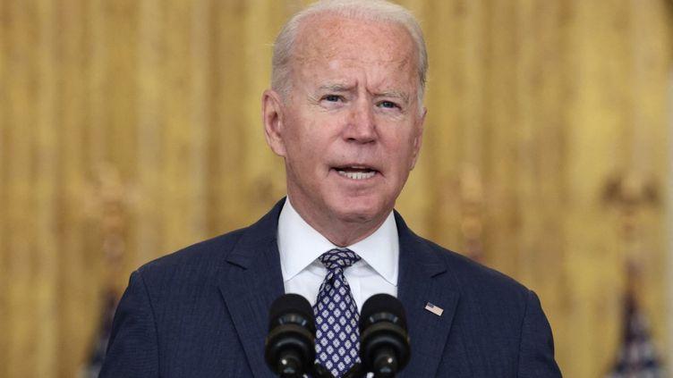 Le président américain, Joe Biden, lors d'un discours depuis la Maison Blanche, le 20 août 2021. (ANNA MONEYMAKER / GETTY IMAGES NORTH AMERICA / AFP)