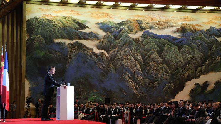 Emmanuel Macron à Xian (Chine), le 8 janvier 2018. (LUDOVIC MARIN / AFP)