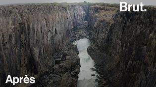 VIDEO. Réchauffement climatique : entre la Zambie et le Zimbabwe, les chutes Victoria s'assèchent (BRUT)