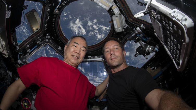 """Cette photo de la NASA obtenue le 2 mai 2021, montre le japonais Soichi Wakata et Thomas Pesquet en train de poser pour un portrait le 28 avril 2021, à l'intérieur de la capsule de l'ISS, """"Fenêtre sur le monde"""". (HANDOUT / NASA / AFP)"""
