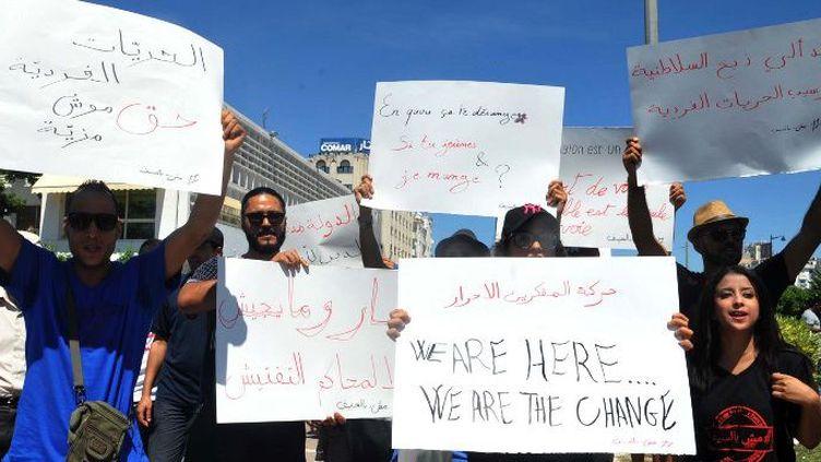 Manifestants non-jeûneurs à Tunis le 11 juin 2017 (AFP - Sofienne HAMDAOUI)