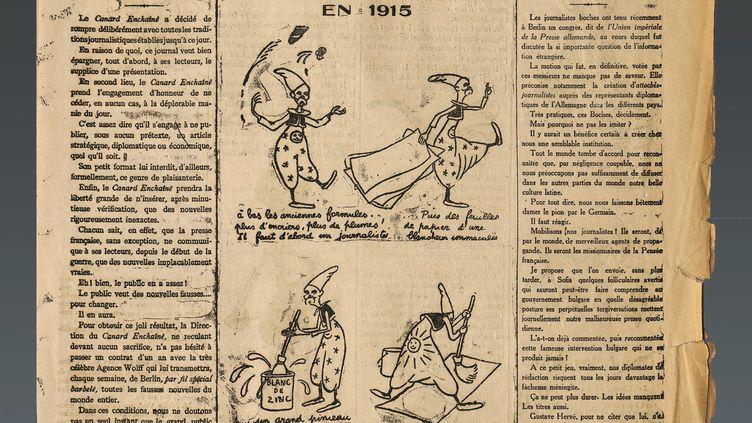 """La une du premier numéro """"Canard enchaîné"""" du 10 septembre 1915. (MANUEL COHEN / AFP)"""