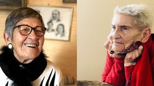 À gauche, Ginette Kolonka, rescapée d'Auschwitz, 95 ans. À droite, Eveline Szpirglas, 91 ans, rescapée d'Auschwitz(photos de janvier 2020). (VICTOR MATET / RADIO FRANCE)