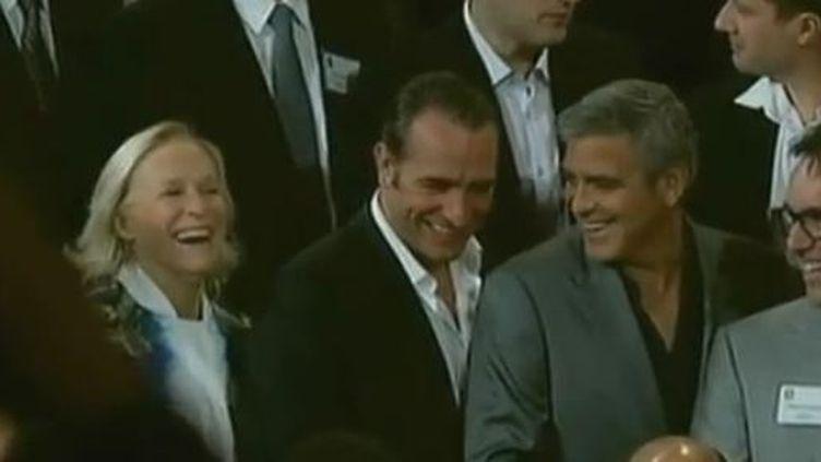 Jean Dujardin et Georges Clooney lundi 6 février à Beverly Hills (Etats-Unis° (EVN)