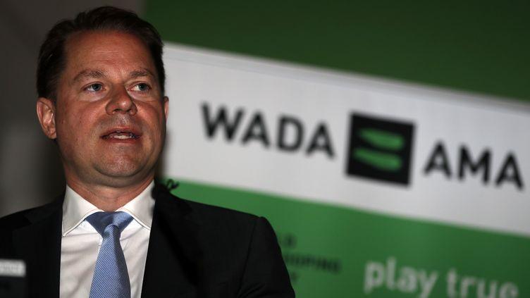 Le patron de l'Agence mondiale antidopage, Olivier Niggli (ADRIAN DENNIS / AFP)