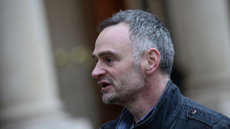 Laurent Pinatel, porte-parole de la Confédération paysanne, le 12 février 2016, à Paris. (STEPHANE DE SAKUTIN / AFP)