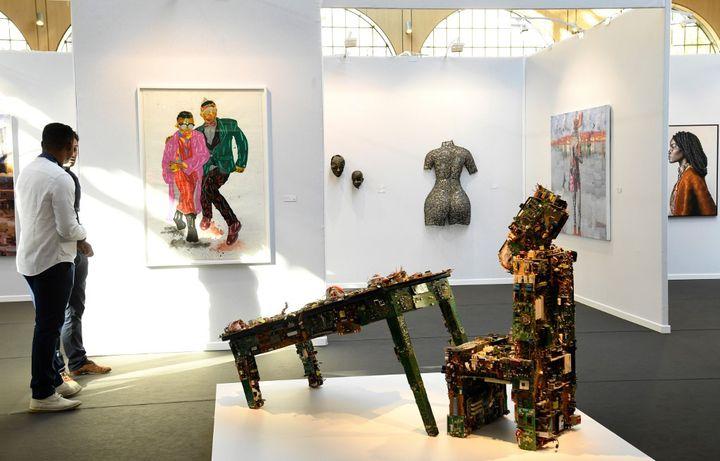 """La Foire d'art conttemporain AKAA (""""Also Known as Africa"""") au Carreau du Temple à Paris du 9 au 11 novembre 2019. (BERTRAND GUAY / AFP)"""