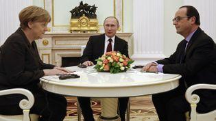 (Merkel, Poutine et Hollande vendredi à Moscou © REUTERS/Maxim Zmeyev)