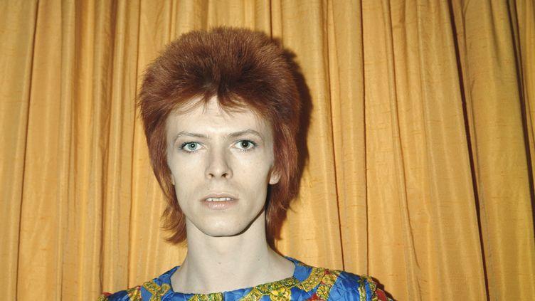 David Bowie, en tenue de Ziggy Stardust, pose en 1973 dans une chambre d'hôtel new-yorkaise (Etats-Unis). (MICHAEL OCHS ARCHIVES / GETTY IMAGES)