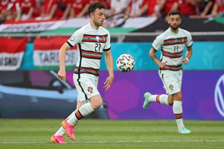 Diogo Jota contre la Hongrie, le 15 juin 2021. (BERNADETT SZABO / POOL / AFP)