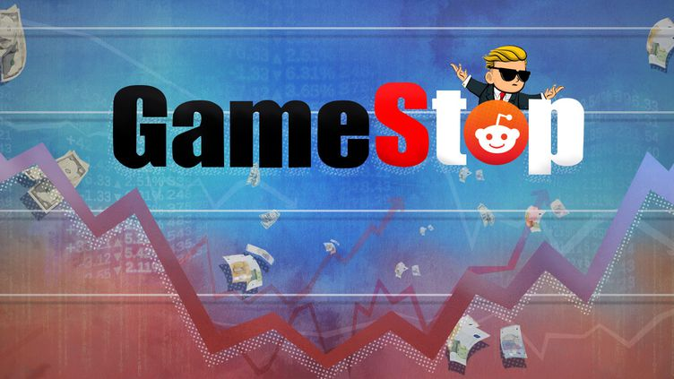 Une armée de boursicoteurs a propulsé le cours de l'entreprise GameStop sur des montagnes russes, en janvier 2021. (PIERRE-ALBERT JOSSERAND / FRANCEINFO)