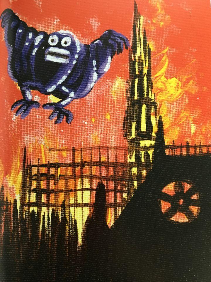 """Notre-Dame par Hervé Di Rosa, l'une des oeuvres de """"15 avril 2019. Visionsd'artistes"""" aux Editions Jannink (Hervé Di Rosa / Editions Jannink 2019)"""