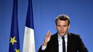 Emmanuel Macron, président du mouvement En Marche !, lors de l'annonce de sa candidature, à Bobigny, le 16 novembre 2016. (PHILIPPE LOPEZ / AFP)
