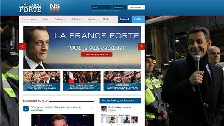 Nicolas Sarkozy a lancé son site de campagne lafranceforte.fr le 16 février 2012. (FTVI)
