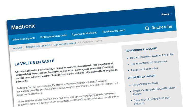 """Le site français de Medtronic présentant le concept de """"veleur en santé"""". (CAPTURE D'ÉCRAN)"""