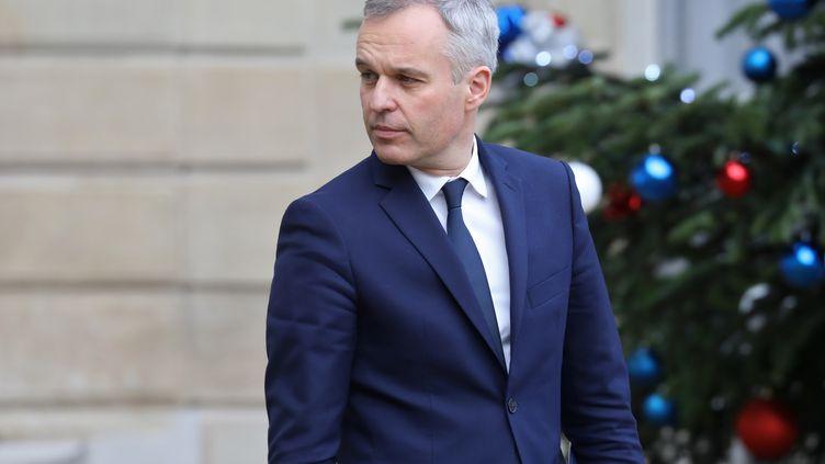Le ministre de la Transition écologique, François de Rugy, quitte l'Elysée, après le Conseil des ministres, le 19 décembre 2018. (LUDOVIC MARIN / AFP)